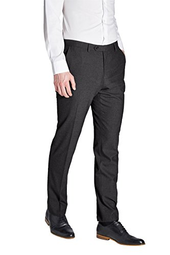next Homme Pantalon sans pinces Gris Anthracite Élastique 38 / Regular - Slim Fit