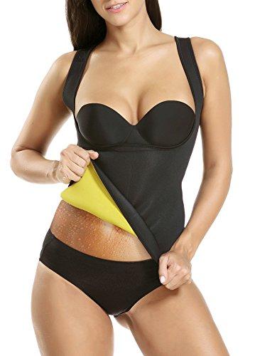 workout Products : Waist Trainer Hot Sweat Slimming Neoprene Shirt Vest Body Shapers Shapewear for Women No Zipper Black