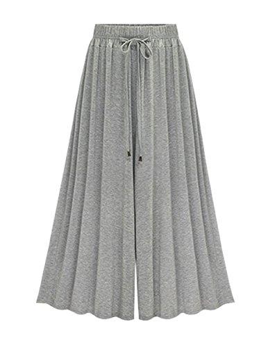- Ainovile Women's High Waist Wide Leg Culottes Pants Palazzo Trousers 2X Grey