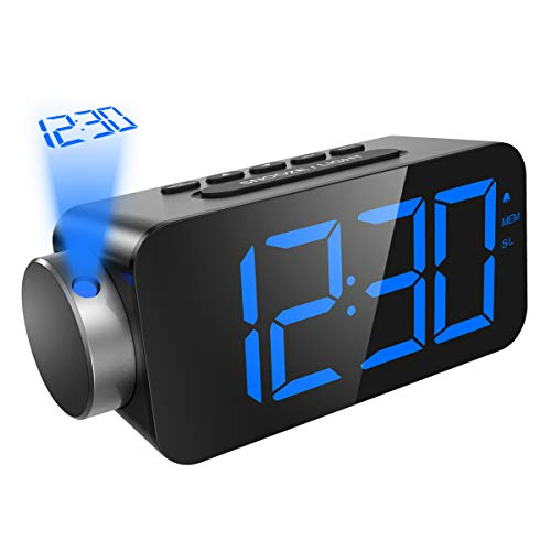 ORIA Projection Clock, FM Radio Alarm Clock, 6.5 LED Display with Dimmer, Alarm with USB Charging Port, 12/24 Hours, 3 Level of Brightness, 180° Adjustable Angle, Backup Battery for Power Failure