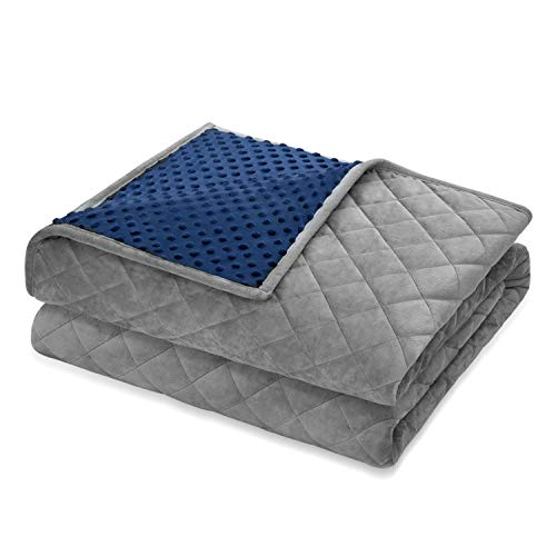 Cheap Angelhood Weighted Blanket Adult (15 lbs 48 x72 Twin Full Size) Minky Weighted Blanket Warm Luxury Heavy Weighted Blanket with Premium Glass Beads Blue-Gray Black Friday & Cyber Monday 2019