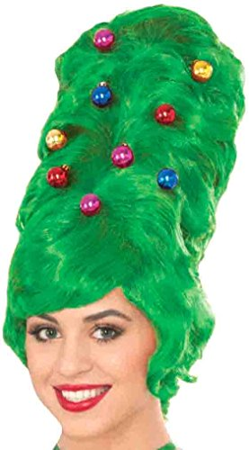 Forum Women's All Decked Out Christmas Wig, Green, One Size