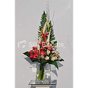 Silk Blooms Ltd Artificial Red Anemone and Oriental Lily Floral Arrangement w/Fresh Touch Pink Roses and Goddess Lilies 94