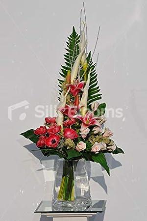 Silk Blooms Ltd Arreglo Floral De Anémonas Rojas