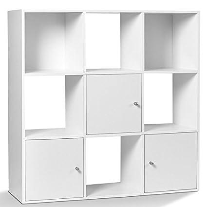 Meuble De Rangement 12 Cases.Idmarket Meuble De Rangement Cube 9 Cases Bois Blanc Avec 3 Portes