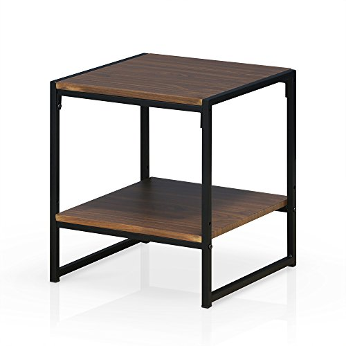 FURINNO Modern 2-Tier End Table, Dark Walnut