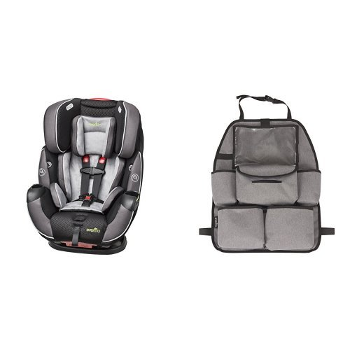 Evenflo Symphony Elite All-In-One Convertible Car Seat, Paramount with Deluxe Car Backseat Organizer, Grey Melange