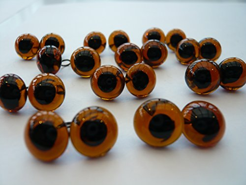 3 Pairs of Glass Eyes - Choose the Size and Color - Felting and Teddy Bears (5mm, Dark Amber)