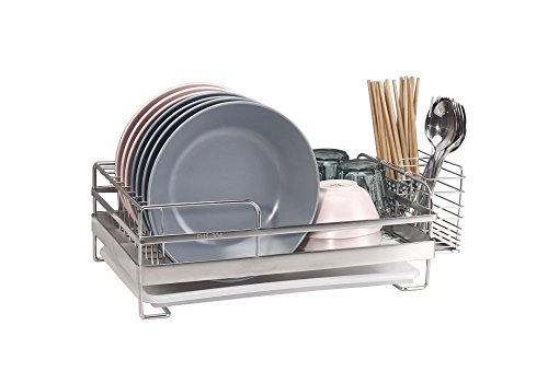 Compact Kitchen Dish Drainer Rack for Drying Glasses, Silver