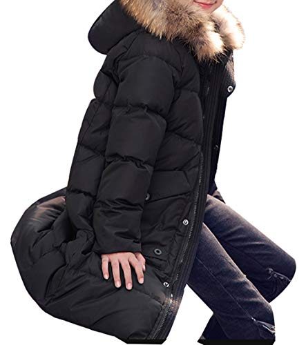 Padded Long Parka Overcoat Winter Duck Style Hooded SellerFun with Down Boy Trim D Puffer Thick Jacket Mid Black Fur 7qYRvw