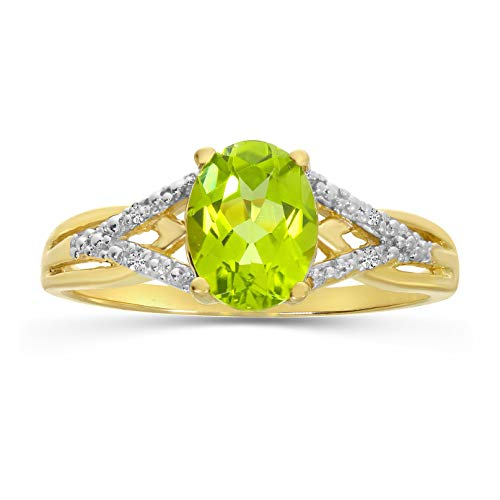 14k Yellow Gold Oval Peridot And Diamond Ring (Size -
