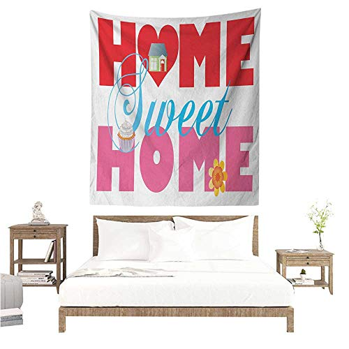 (Agoza Home Sweet Home Decorative Tapestry House Cupcake and Flower on Words with a Heart Shape Real Estate Property Tapestry for Home Decor 54W x 84L INCH Multicolor)