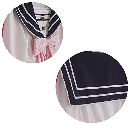 Lemail Girls Sailor School Uniform Chiffon Long Sleeve Japanese Pleated Mini Dress Pink M by Lemail wig (Image #6)