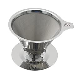 Savvy Kitchen Co. Paperless Pour Over Coffee Brewer - Stainless Steel (304) Single Cup Coffee Maker and Filter made by Savvy Kitchen Co.