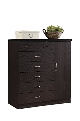 Hodedah HI71DR Chocolate 7 Locks on 2-Top Plus 1-Door with 3-Shelves Chest of Drawers ()