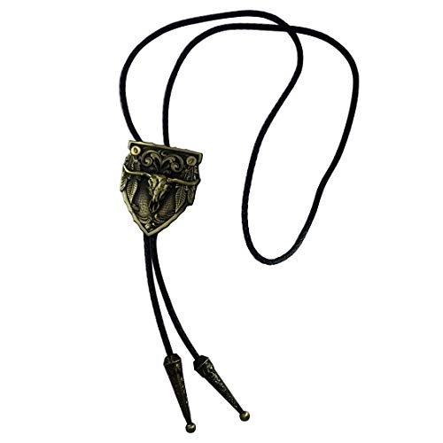 (MarryAcc Cowboy Necktie Longhorn Skull Bolo Tie(Antique Brass))