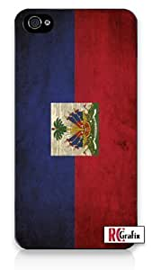 Distressed Haitian Haiti National Flag iPhone 5 Quality Hard Snap On Case for iPhone 5/5S - AT&T Sprint Verizon - Black Frame