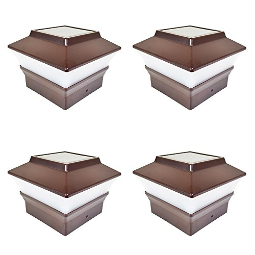 iGlow 4 Pack Brown Outdoor Garden 4 x 4 Solar LED Post Deck Cap Square Fence Light Landscape Lamp Lawn PVC Vinyl Plastic