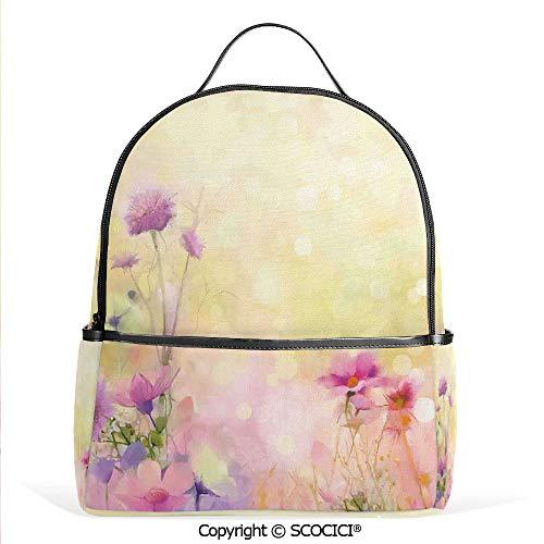 Lightweight Chic Bookbag Vintage Soft Feminine Magnolia Blooms Motif Whorls Art,Pink Light Yellow,Satchel Travel Bag Daypack