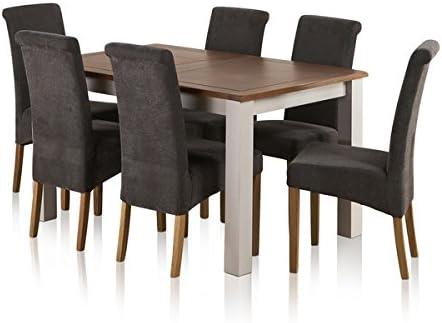 Oak Furniture Land Mesa de Comedor Extensible de Madera de Roble Maciza rústica y Pintada de Madera de Roble con 6 sillas Lisas de carbón: Amazon.es: Hogar