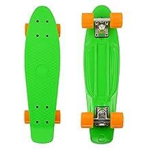 """PHAT ® 22"""" Complete Plastic Retro Mini Skateboard Cruiser Street Surfing Skate Banana Board (Green)"""