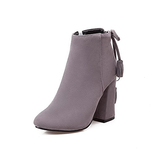 Allhqfashion Women's Low Top Zipper High Heels Pointed Closed Toe Boots Gray