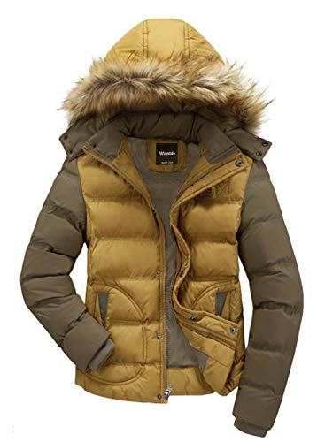 Wantdo Men's Winter Puffer Coat Casual Fur Hooded Warm Outwear Jacket Yellow Medium
