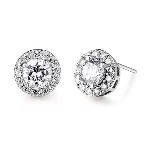 GULICX Fashion Jewelry Classic Round White Clear Zircon White Gold Tone Party Huggie Stud Earrings Classic Clear Studs