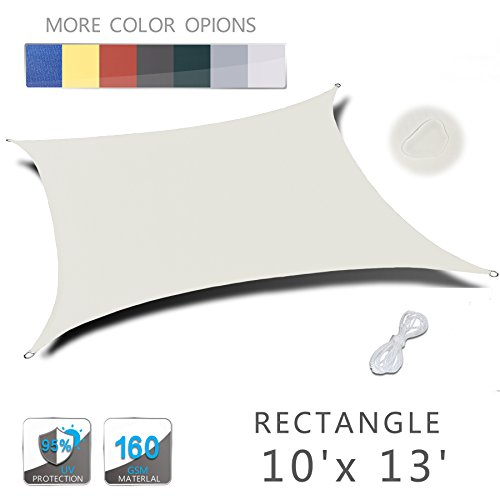 LOVE STORY 10' x 13' Rectangle Beige Waterproof Sun Shade Sail Perfect for Outdoor Patio Garden
