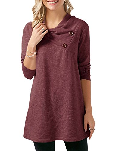 Chenghe Women\'s Cowl Neck Tunics Long Sleeve Sweatshirts with Buttons (02Wine XX-Large)