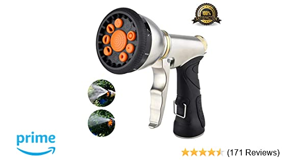 Hose Nozzle Garden Hose Nozzle Heavy Duty Metal Hose Spray Nozzle with 9  Adjustable Patterns Front Trigger Hose Sprayer Water Hose Nozzle for