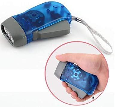 VPlus - Torcia elettrica a 3 LED, con dinamo a pressione a mano