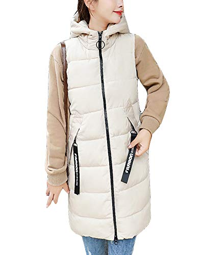 Winter Padded Quilted Jacket Beige GladiolusA Sleeveless Women Hooded Outerwear Coat Warm Waistcoat Vest Gilet Long 8Cp4q