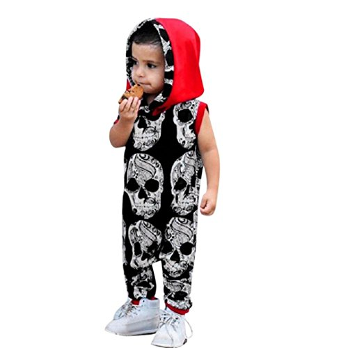 Auwer Baby boy Outfits, Halloween Costume Toddler Girls Boys Bone Print Hooded Romper Jumpsuit Casaul Clothes (18-24Month, Black)