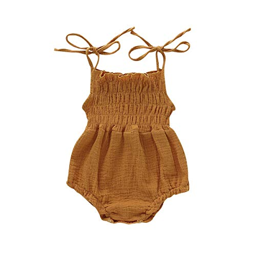Newborn Toddler Baby Romper Bodysuits Jumpsuit 0-18m Casual Off Shoulder Halter Cute Strap one Piece Bowknot Outfit (Yellow, 12-18 ()