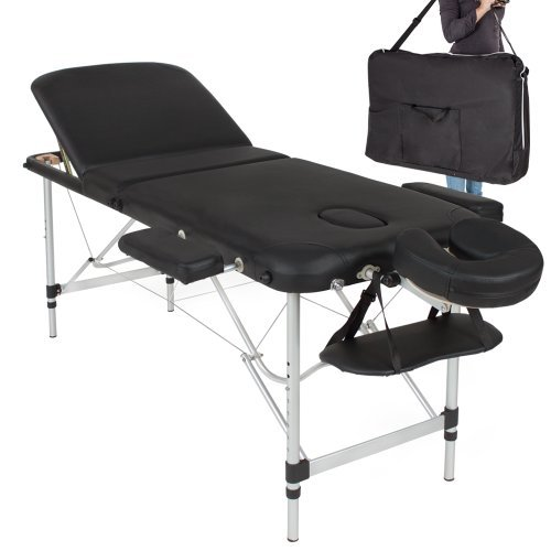TecTake® Mobile Aluminium Massageliege 3 Zonen höhenverstellbar schwarz inkl. hochwertiger Alu-Holzkopfstütze + Tasche