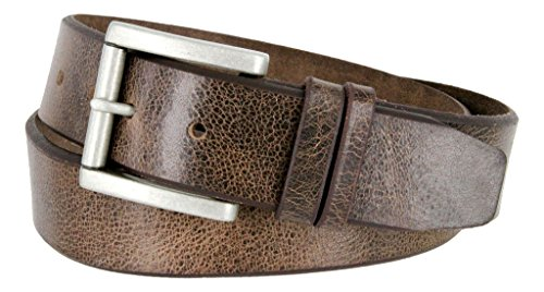 Western Casual Jean Vintage Distress Leather Belt (Brown, 40)