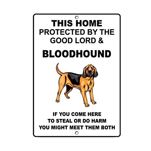 TNND Metal Sign 12x16 inches Funny Metal Signs Bloodhound Dog Home Protected by Good Lord Garage Home Yard Fence Aluminum Plaque Wall Art