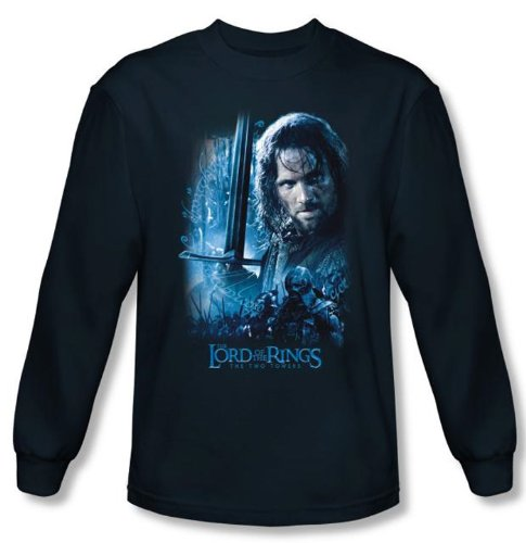 The Lord Of The Rings Long Sleeve T-Shirt Aragorn Navy Blue Tee Shirt, Large (Lord Of The Rings Book Shirt)