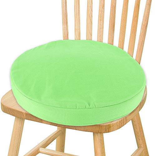 Librao 14 Inch Round Chair Pads with Ties for Outdoor Seat Indoor Chair Cushion Pads for Office Kitchen Dining Room Patio (1PCS, Green)