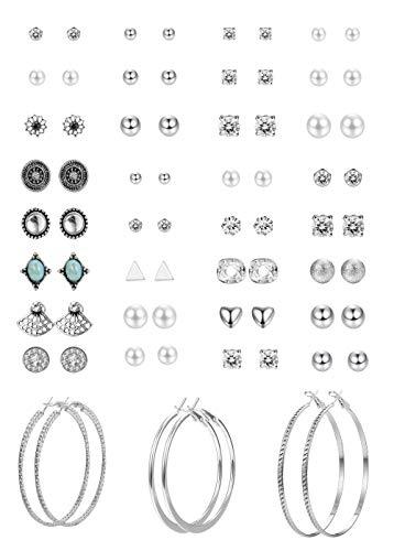 Hanpabum 33 Pairs Assorted Multiple Stud Hoop Earrings Set Women Girls Vintage GeometricFake Pearl Round BallCZ Earrings Pack