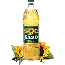 Blago Sunflower Oil Premium (Refined, Deodorized) 33.8 Fl Oz / 1 Litre. Imported from Russia 3 Organic Sunflower Oil All Natural, Expeller Pressed, Non-GMO Lightweight Planet Friendly Bottle (BPA-Free)