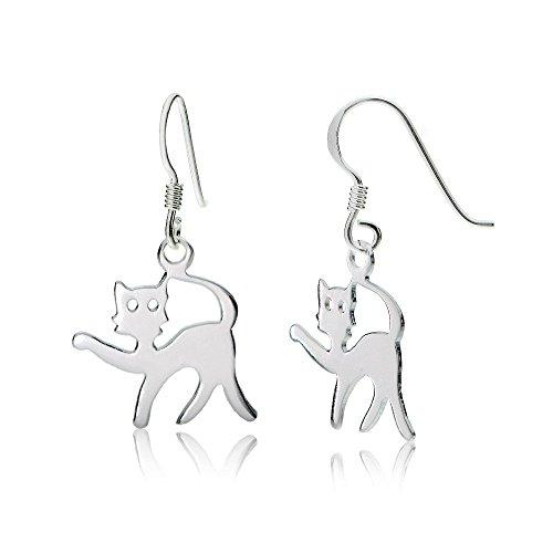 Sterling Silver Playful Cat Polished Earrings - Blue Magic Plastic Polish