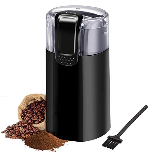 Coffee Grinder Portable - Coffee Grinder Electric, IKICH 120V Powerful Blade Coffee Bean & Spice Grinder with 12 Cups Large Grinding Capacity, Cord Storage, Portable & Compact, also for Spices, Pepper, Herbs, Nuts, Seeds, Grains and More【Lifetime Warranty】