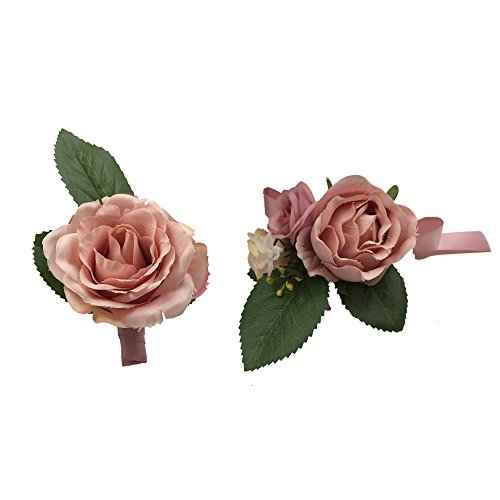 Abbie Home Prom Wrist Corsage Brooch Boutonniere Set Wedding Event Party Wristband Hand Flower Décor-Pink ()