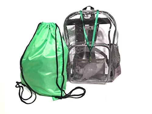 (Clear Bookbags - 6 COLORS - Drawstring Bag & Lanyard Included - Heavy Duty Clear Backpack - Security Backpack - See Through School Bag - Transparent bag - Large Clear Backpack - PVC Bag)