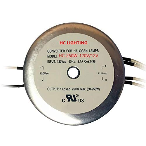 HC Lighting - Electronic Halogen and LED Transformer 250 Watt Maximum Load Capacity 120 Volt Input / 12 Volt Output to be Used with MR16, JC G4, G5.3, and G6.35 Base Bulbs by HC Lighting