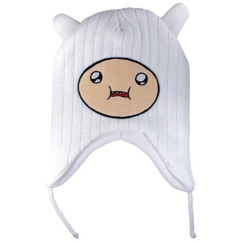 Adventure Time Finn Youth Laplander Beanie Hat White (Hat Finn And Jake)
