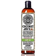 Zinc Oxide Sunscreen from Coconut Joe's | Natural & Organic Sunscreen Lotion, Mineral Sunscreen, SPF 15, Natural Sunscreen, Exotic Coconut, 8 ounce bottle