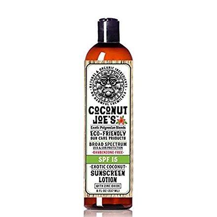 Zinc Oxide Sunscreen from Coconut Joes | Natural & Organic Sunscreen Lotion, Mineral Sunscreen, SPF 15, Natural Sunscreen, Exotic Coconut, 8 ounce bottle